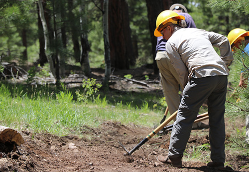 Volunteers dig trail tread