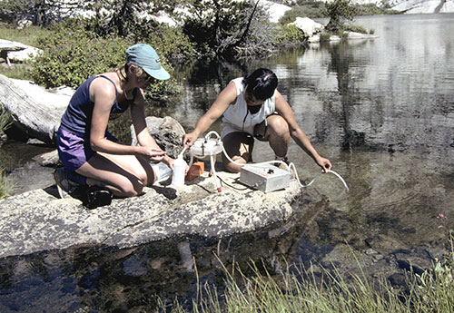 Women taking water samples